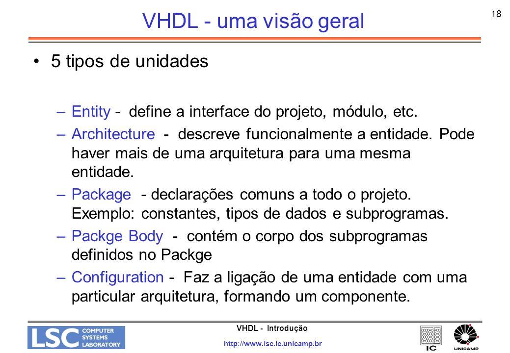 VHDL - Introdução http://www.lsc.ic.unicamp.br 18 VHDL - uma visão geral 5 tipos de unidades –Entity - define a interface do projeto, módulo, etc. –Ar
