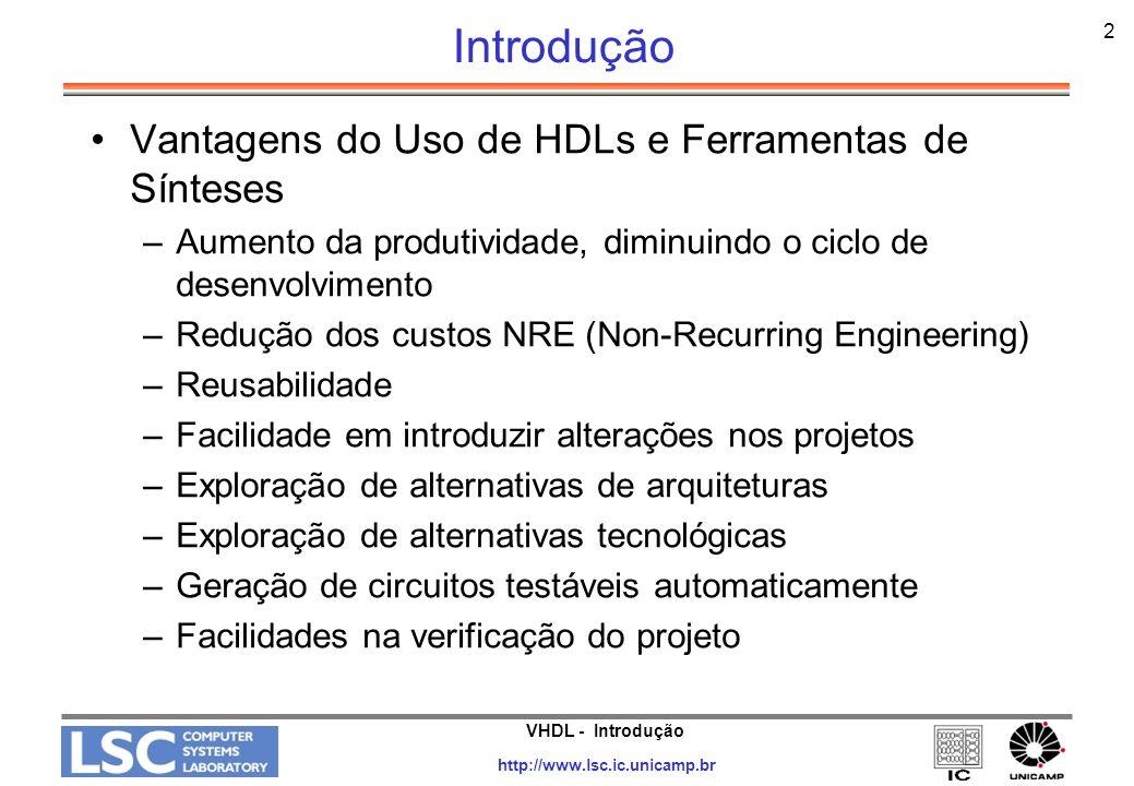 VHDL - Introdução http://www.lsc.ic.unicamp.br 2 Introdução Vantagens do Uso de HDLs e Ferramentas de Sínteses –Aumento da produtividade, diminuindo o