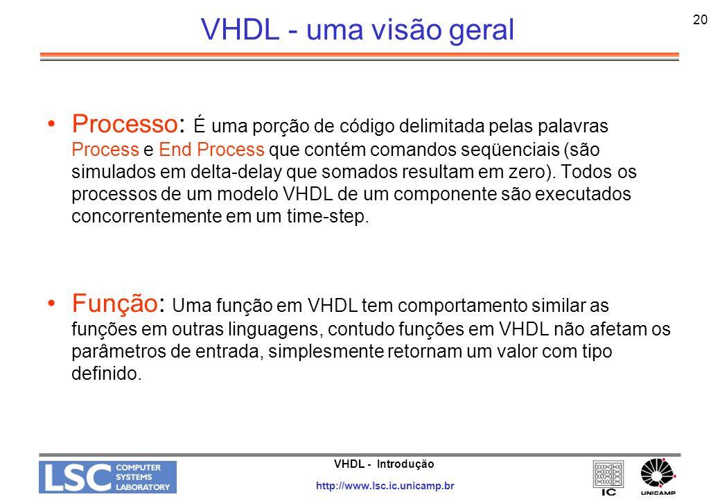 VHDL - Introdução http://www.lsc.ic.unicamp.br 20 VHDL - uma visão geral Processo: É uma porção de código delimitada pelas palavras Process e End Proc