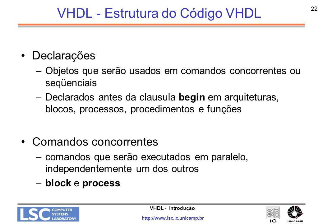 VHDL - Introdução http://www.lsc.ic.unicamp.br 22 VHDL - Estrutura do Código VHDL Declarações –Objetos que serão usados em comandos concorrentes ou se