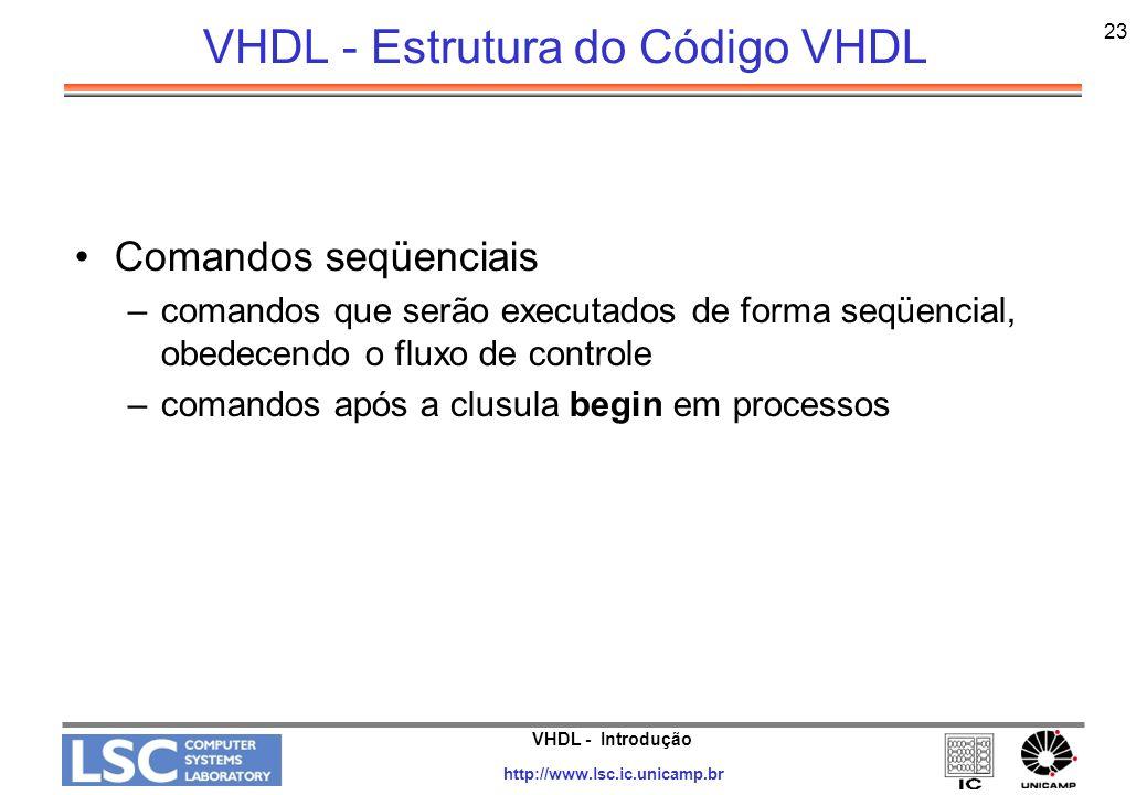 VHDL - Introdução http://www.lsc.ic.unicamp.br 24 VHDL - Elementos Léxicos Comentários: -- Identificadores: Formados por letras, números e underline (necessariamente iniciados por letra e não podem terminar em underline) Palavras reservadas Símbolos especiais: Utilizados em operadores, para delimitação e pontuação da linguagem: / : -.