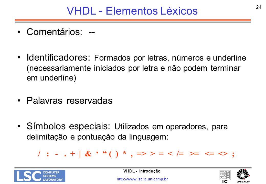 VHDL - Introdução http://www.lsc.ic.unicamp.br 24 VHDL - Elementos Léxicos Comentários: -- Identificadores: Formados por letras, números e underline (