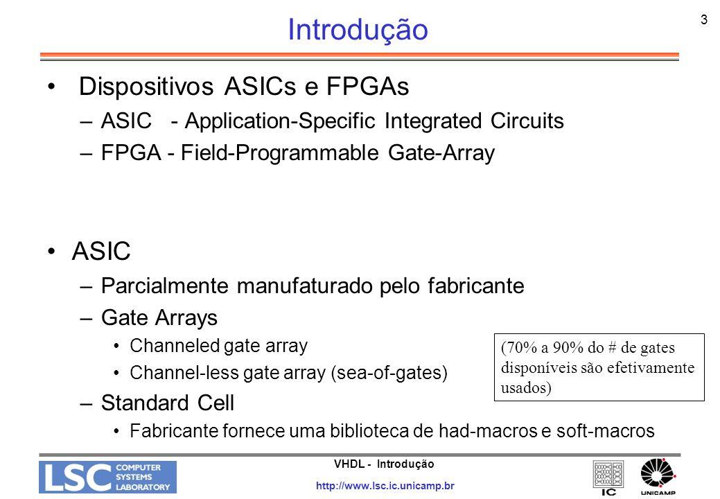 VHDL - Introdução http://www.lsc.ic.unicamp.br 4 Introdução FPGA –Completamente manufaturado pelo fabricante –Blocos programáveis interconectados por matrizes de chaves programáveis FPGAs são muito utilizadas para pequena produção e prototipagem de sistemas ASIC x FPGA ASIC FPGA NRC $20,000 a $100,000 Por unidade $10 $150 a $250---