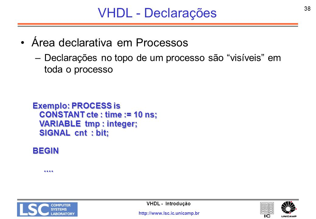 VHDL - Introdução http://www.lsc.ic.unicamp.br 38 VHDL - Declarações Área declarativa em Processos –Declarações no topo de um processo são visíveis em