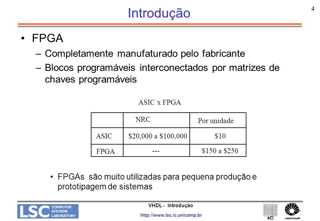 VHDL - Introdução http://www.lsc.ic.unicamp.br 4 Introdução FPGA –Completamente manufaturado pelo fabricante –Blocos programáveis interconectados por