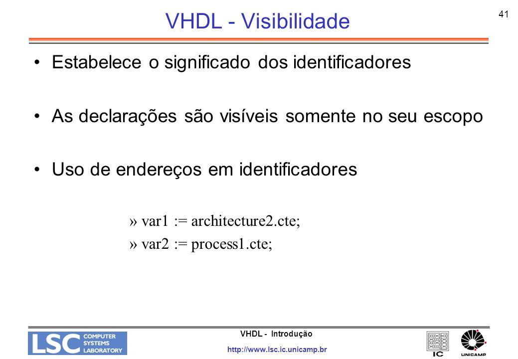 VHDL - Introdução http://www.lsc.ic.unicamp.br 41 VHDL - Visibilidade Estabelece o significado dos identificadores As declarações são visíveis somente