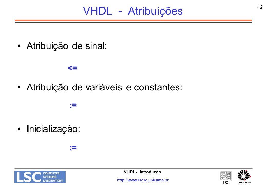 VHDL - Introdução http://www.lsc.ic.unicamp.br 43 VHDL - Atribuições de Dados Constante: Variável: Sinal: Constant cnt_reset := 1001; var1 := 2005; dado <= 1; d <= 1, 0 AFTER 5 ns;