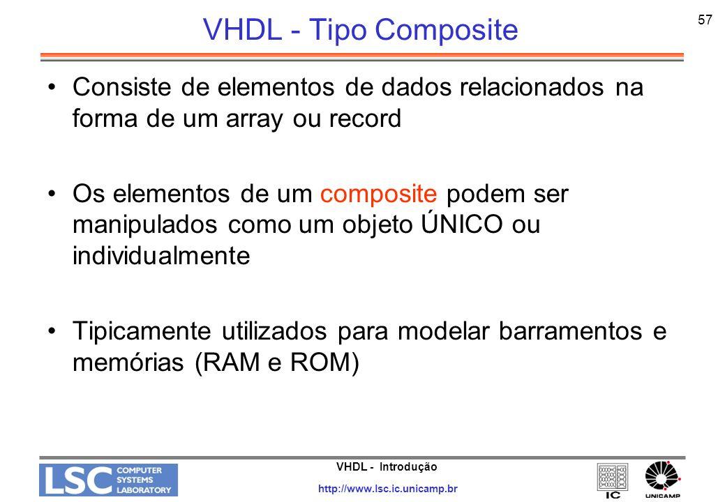 VHDL - Introdução http://www.lsc.ic.unicamp.br 57 VHDL - Tipo Composite Consiste de elementos de dados relacionados na forma de um array ou record Os