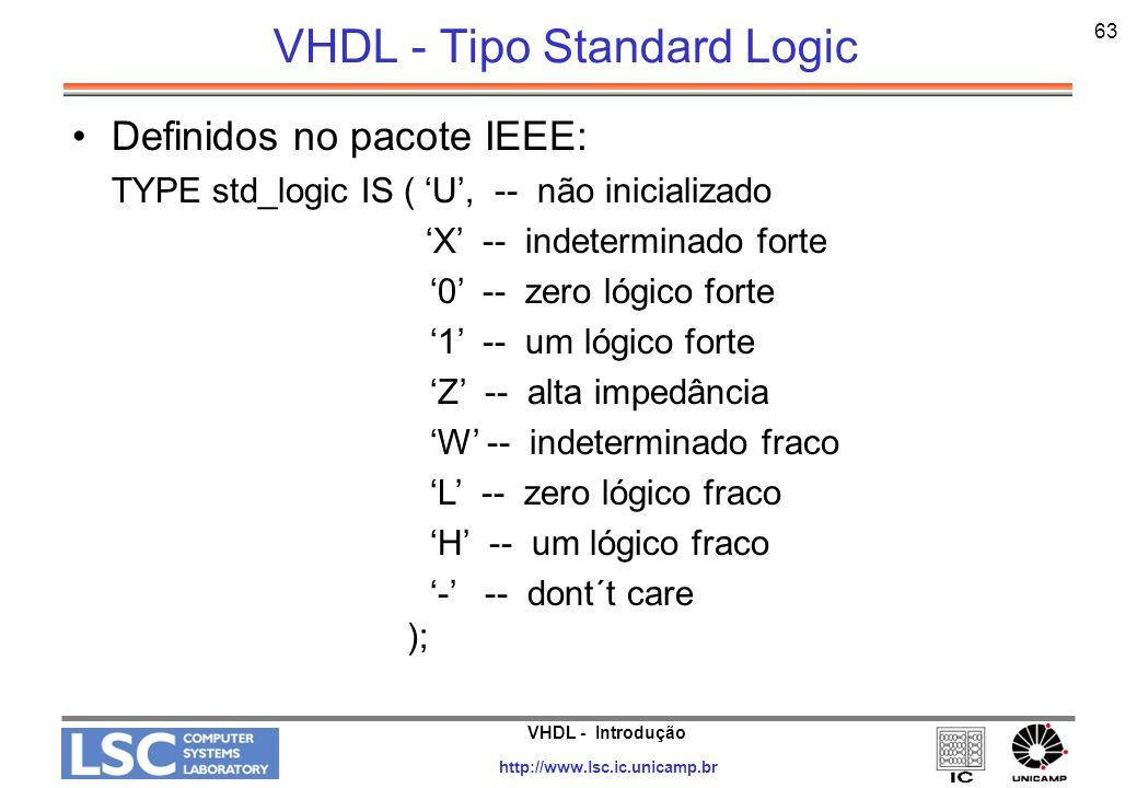 VHDL - Introdução http://www.lsc.ic.unicamp.br 63 VHDL - Tipo Standard Logic Definidos no pacote IEEE: TYPE std_logic IS ( U, -- não inicializado X --