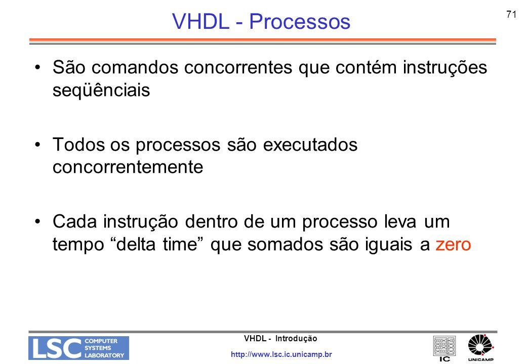 VHDL - Introdução http://www.lsc.ic.unicamp.br 72 VHDL - Process Label: PROCESS (lista de sensitividade) cláusulas declarativas; BEGIN -- comentários inicializações; cláusulas acertivas; END PROCESS label; OBS.: A lista de sensibilidade funciona como um comando WAIT ON