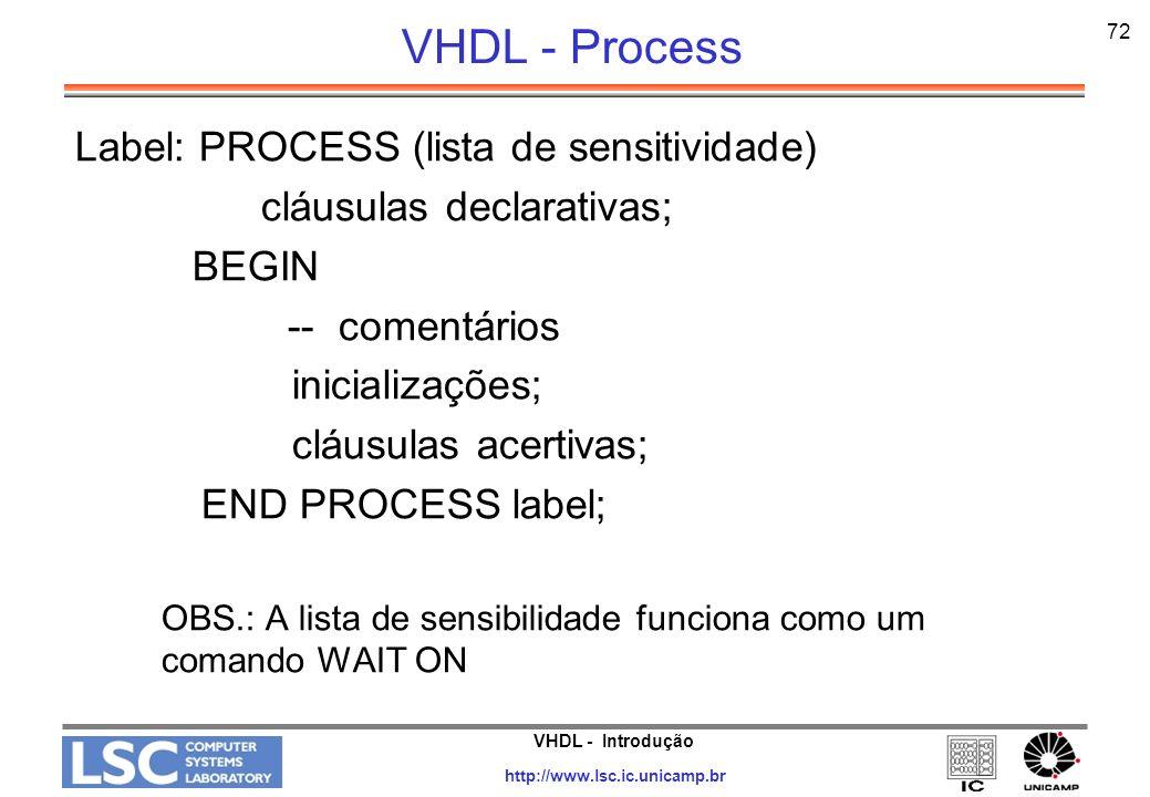 VHDL - Introdução http://www.lsc.ic.unicamp.br 73 VHDL - Process Architecture bhv OF generic_decoder IS Begin PROCESS (sel, en) BEGIN y 1; FOR i IN yrange LOOP IF (en = 1 and bvtoi(To_Bitvector(sel)) = i) THEN y(i) <= 0; END IF; END LOOP; END PROCESS; END bhv; atributo Função de conversão de tipo bit_vector para inteiro