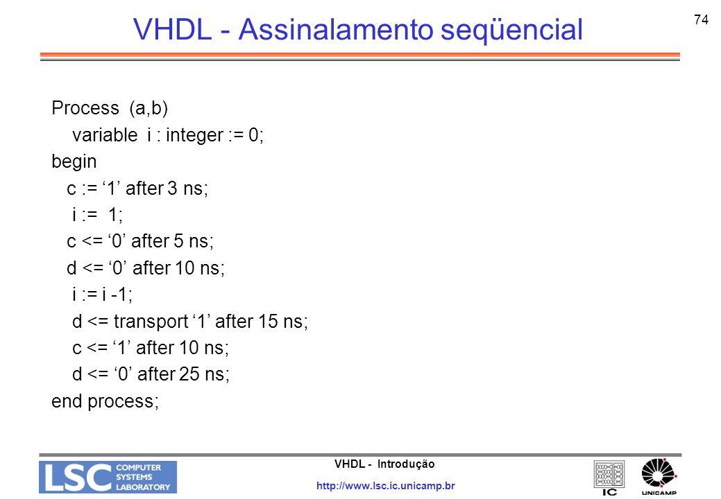 VHDL - Introdução http://www.lsc.ic.unicamp.br 75 VHDL - Assinalamento seqüencial Process (a,b) variable i : integer := 0; begin c := 1 after 3 ns; i := 1; -- i = 1 imediatamente c <= 0 after 5 ns; d <= 0 after 10 ns; i := i -1; -- i = 0 imediatamente d <= transport 1 after 15 ns; -- d = 1 depois de 15 ns c <= 1 after 10 ns; -- c = 1 depois de 10 ns d <= 0 after 25 ns; -- d = 0 depois de 25 ns end process;