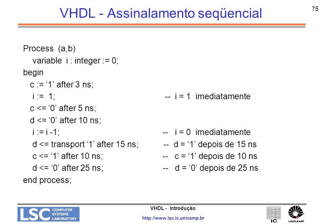 VHDL - Introdução http://www.lsc.ic.unicamp.br 75 VHDL - Assinalamento seqüencial Process (a,b) variable i : integer := 0; begin c := 1 after 3 ns; i