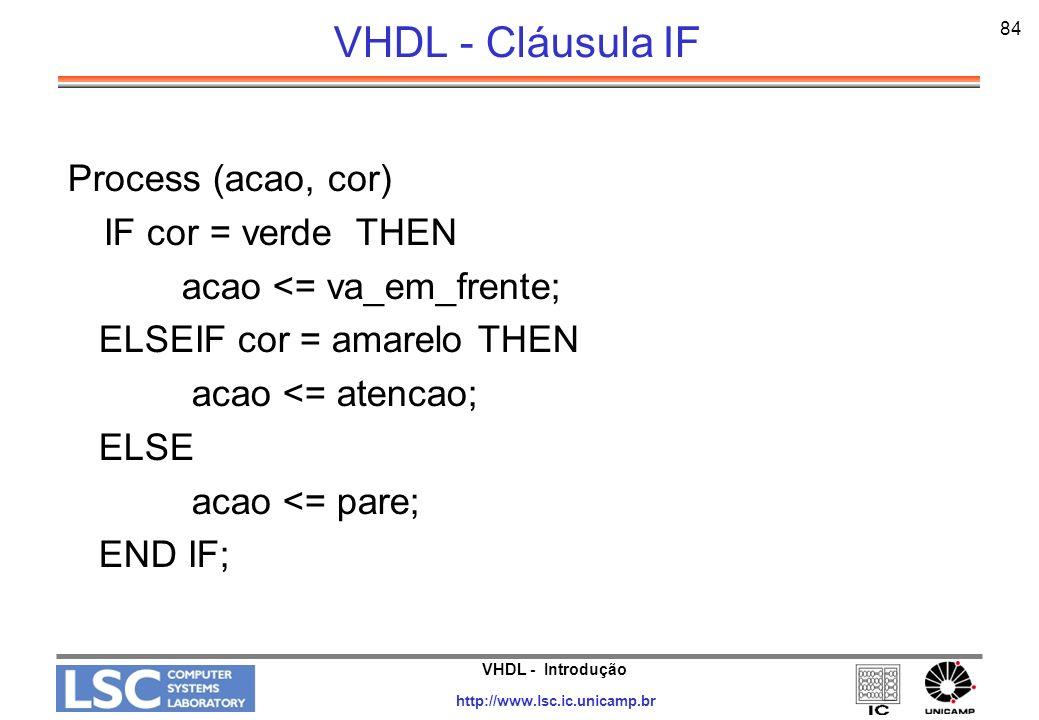 VHDL - Introdução http://www.lsc.ic.unicamp.br 84 VHDL - Cláusula IF Process (acao, cor) IF cor = verde THEN acao <= va_em_frente; ELSEIF cor = amarel