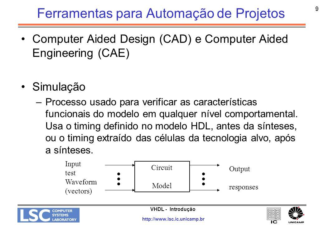 VHDL - Introdução http://www.lsc.ic.unicamp.br 10 Ferramentas para Automação de Projetos Fault Simulation –Simulação do modelo com uma particular entrada de estímulos (vetor) e com injeção de falhas típicas de manufatura no modelo –Identificar áreas do circuito que não foram funcionalmente testadas pelos vetores de testes funcionais –Checar a qualidade dos vetores de teste e sua habilidade de detectar defeitos de manufatura –Executar os testes de produção e de reparo