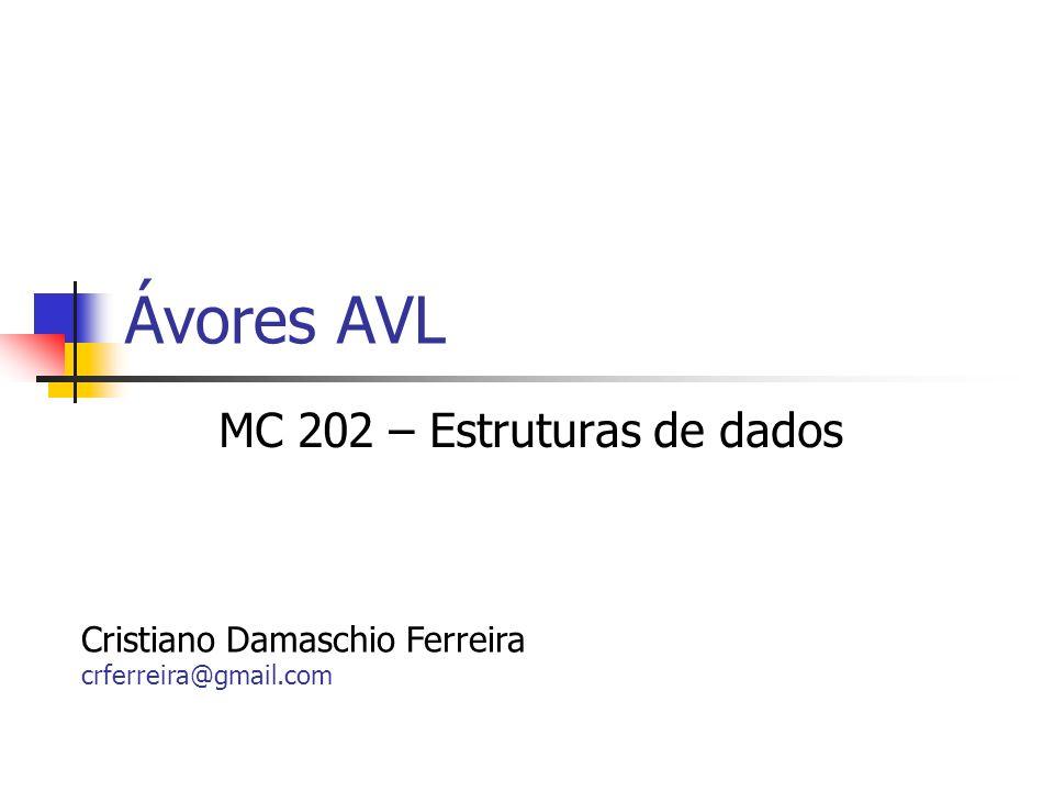Ávores AVL MC 202 – Estruturas de dados Cristiano Damaschio Ferreira crferreira@gmail.com