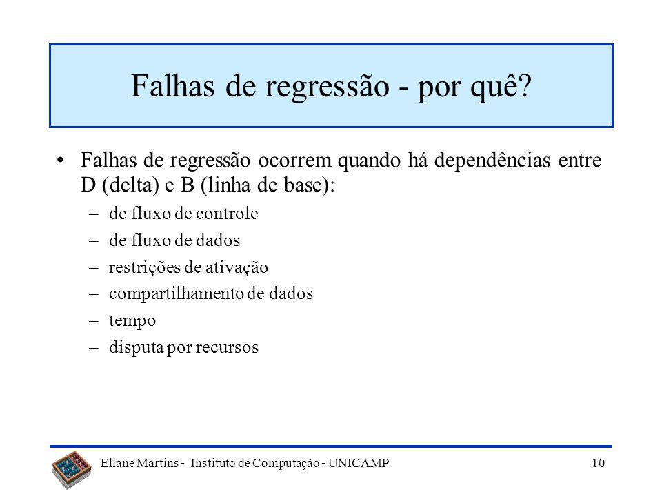 Eliane Martins - Instituto de Computação - UNICAMP 9 Limitações Uma seqüência de regressão NÃO contém testes para as partes novas ou alteradas Uma seq