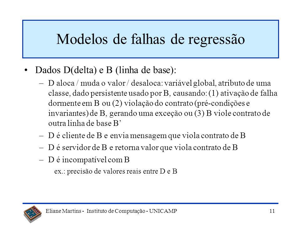Eliane Martins - Instituto de Computação - UNICAMP 10 Falhas de regressão - por quê? Falhas de regressão ocorrem quando há dependências entre D (delta