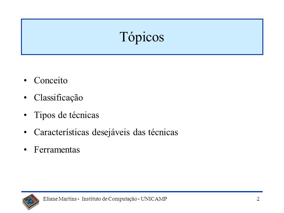 Eliane Martins - Instituto de Computação - UNICAMP 2 Tópicos Conceito Classificação Tipos de técnicas Características desejáveis das técnicas Ferramentas