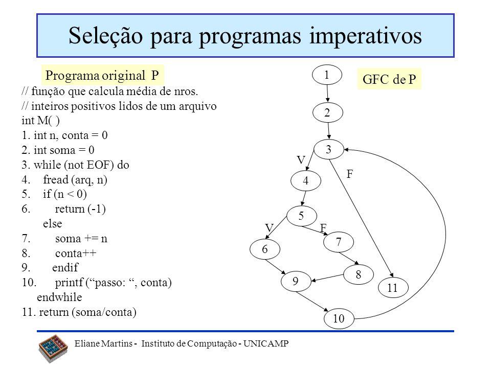 Eliane Martins - Instituto de Computação - UNICAMP Seleção baseada no código Exemplo de técnica: –Seleção baseada em segmento modificado As técnicas s