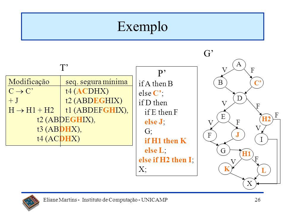 Eliane Martins - Instituto de Computação - UNICAMP 25 Seleção baseada no segmento modificado P if A then B else C; if D then if E then F; G; if H then