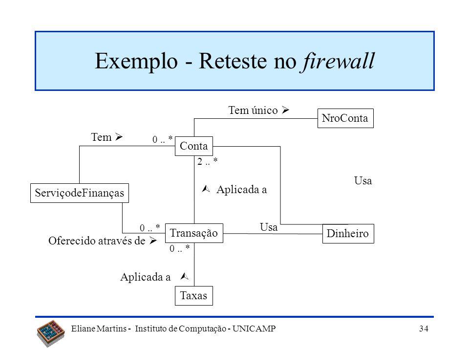 Eliane Martins - Instituto de Computação - UNICAMP 33 Uso de firewall em software OO Firewall: –Conjunto de componentes (classes, programas, módulos,.