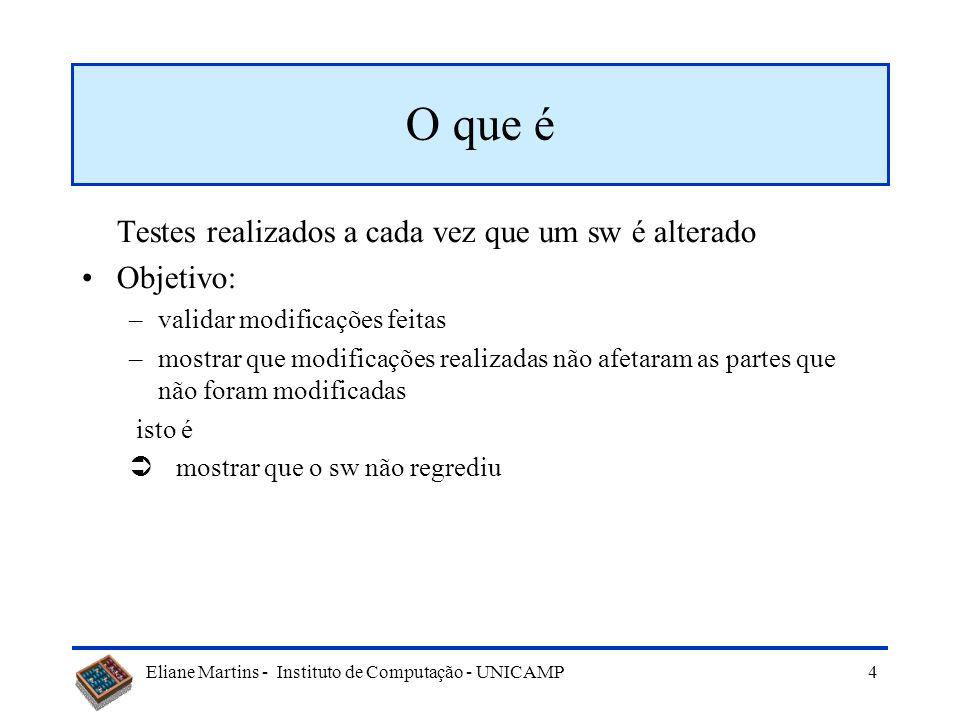 Eliane Martins - Instituto de Computação - UNICAMP 44 Exemplo Supor que se dispõe de 100h (6000 min) para os testes de regressão de um ATM, dos quais: –a execução de um caso de teste leva em média 5 min –uma falha é revelada 0,5% do tempo –a correção da falha requer em média 4h (240 min) Supor ainda que o conjunto de testes da linha básica contém 20.000 casos de testes Quantos casos de testes devem ser selecionados?