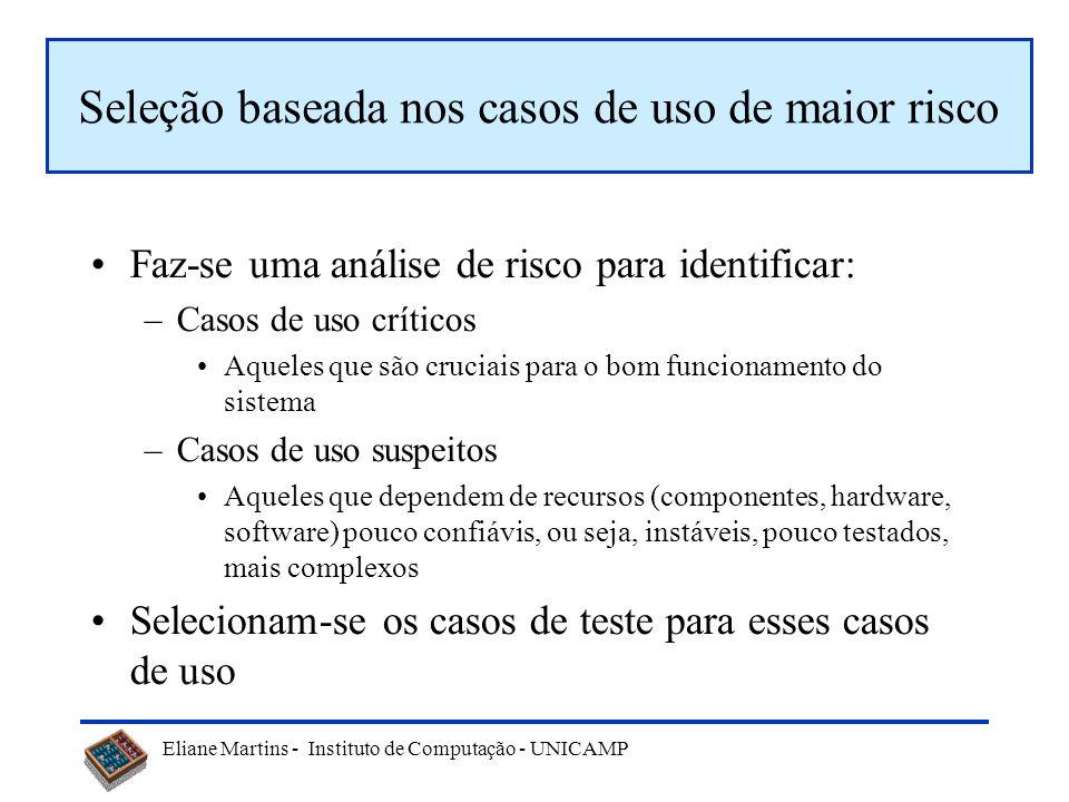 Eliane Martins - Instituto de Computação - UNICAMP Técnicas baseadas na especificação A seleção baseia-se na análise do modelo de especificação. No ca