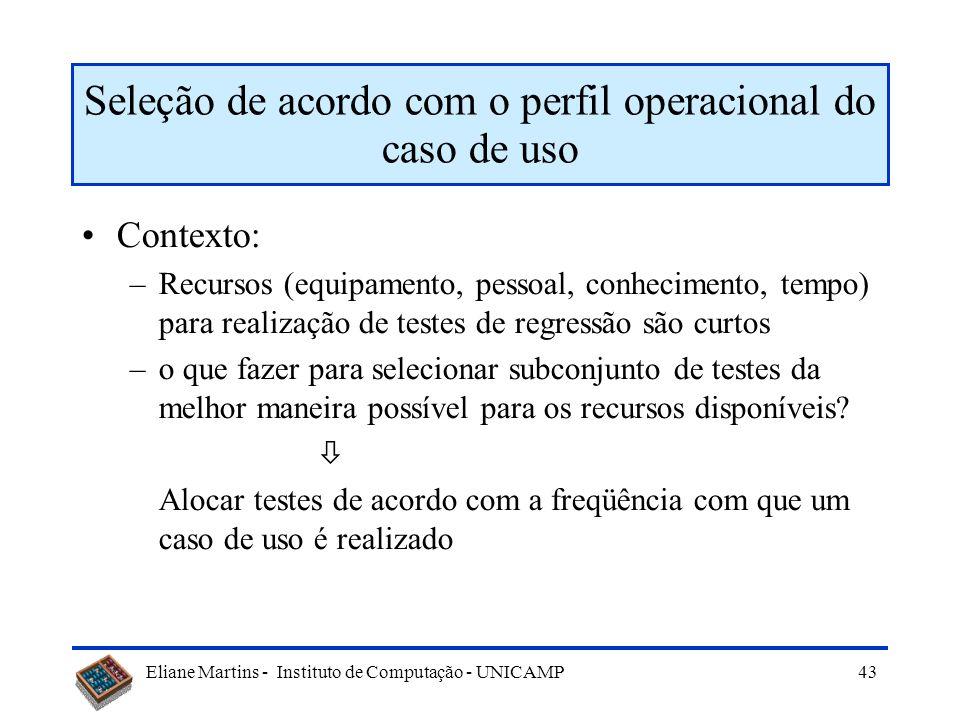 Eliane Martins - Instituto de Computação - UNICAMP Matriz de rastreabilidade t1t1 t2t2...tMtM Caso de uso 1 Caso de uso 2... Caso de uso N