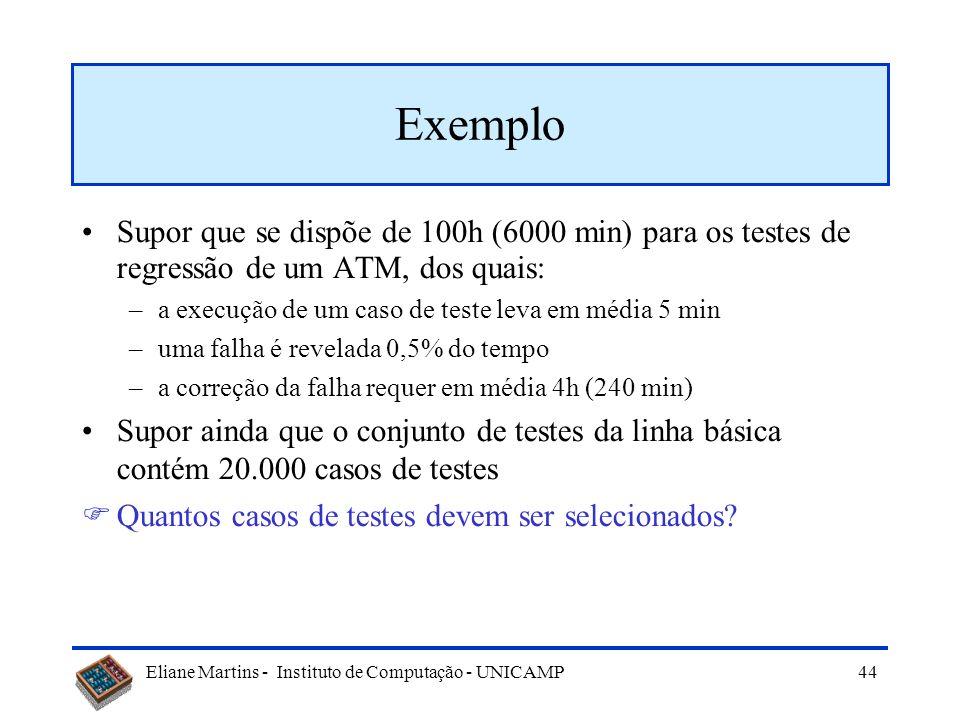 Eliane Martins - Instituto de Computação - UNICAMP 43 Seleção de acordo com o perfil operacional do caso de uso Contexto: –Recursos (equipamento, pess
