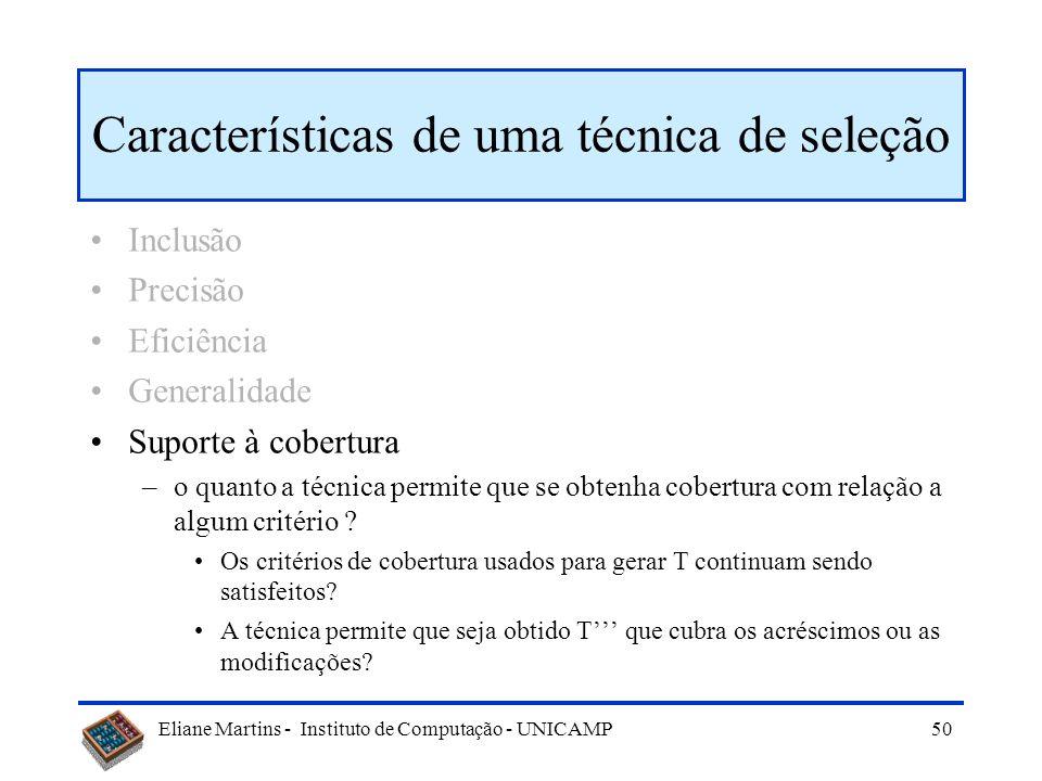 Eliane Martins - Instituto de Computação - UNICAMP 49 Características de uma técnica de seleção Inclusão Precisão Eficiência Generalidade –o quanto a