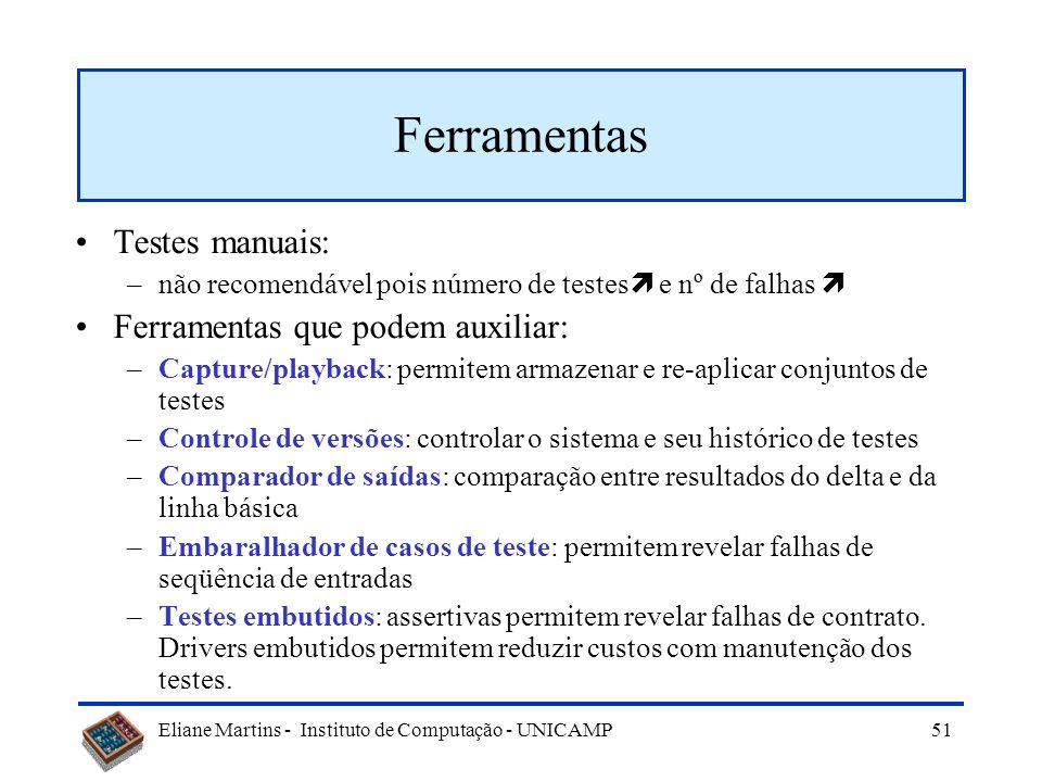 Eliane Martins - Instituto de Computação - UNICAMP 50 Características de uma técnica de seleção Inclusão Precisão Eficiência Generalidade Suporte à co