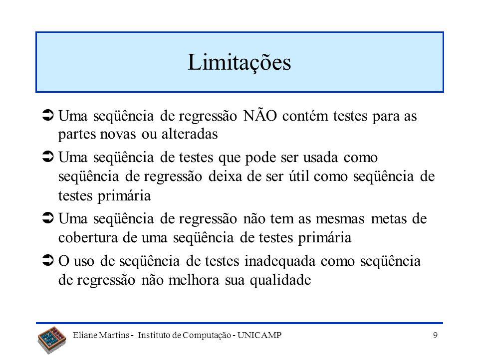 Eliane Martins - Instituto de Computação - UNICAMP 9 Limitações Uma seqüência de regressão NÃO contém testes para as partes novas ou alteradas Uma seqüência de testes que pode ser usada como seqüência de regressão deixa de ser útil como seqüência de testes primária Uma seqüência de regressão não tem as mesmas metas de cobertura de uma seqüência de testes primária O uso de seqüência de testes inadequada como seqüência de regressão não melhora sua qualidade