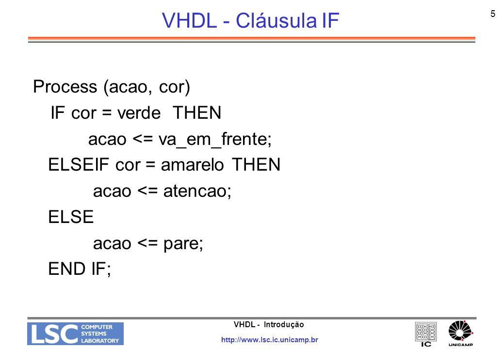 VHDL - Introdução http://www.lsc.ic.unicamp.br 5 VHDL - Cláusula IF Process (acao, cor) IF cor = verde THEN acao <= va_em_frente; ELSEIF cor = amarelo