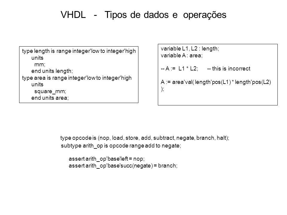 VHDL - Comandos Seqüenciais Comandos seqüenciais -- Comandos que são executados em seqüência -- Usados nos processos (process) if mode = immediate then operand := immed_operand; elsif opcode = load or opcode = add or opcode = subtract then operand := memory_operand; else operand := address_operand; end if; if opcode = halt_opcode then PC := effective_address; executing := false; halt_indicator <= true; end if; Comandos IF if phase = wash then if cycle_select = delicate_cycle then agitator_speed <= slow; else agitator_speed <= fast; end if; agitator_on <= true; end if; entity thermostat is port ( desired_temp, actual_temp : in integer; heater_on : out boolean ); end entity thermostat; architecture example of thermostat is begin controller : process (desired_temp, actual_temp) is begin if actual_temp < desired_temp - 2 then heater_on <= true; elsif actual_temp > desired_temp + 2 then heater_on <= false; end if; end process controller; end architecture example;