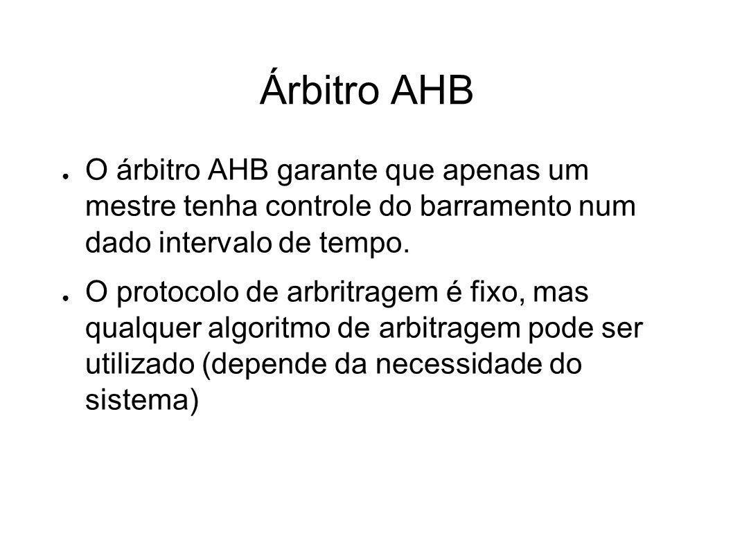 Árbitro AHB O árbitro AHB garante que apenas um mestre tenha controle do barramento num dado intervalo de tempo. O protocolo de arbritragem é fixo, ma