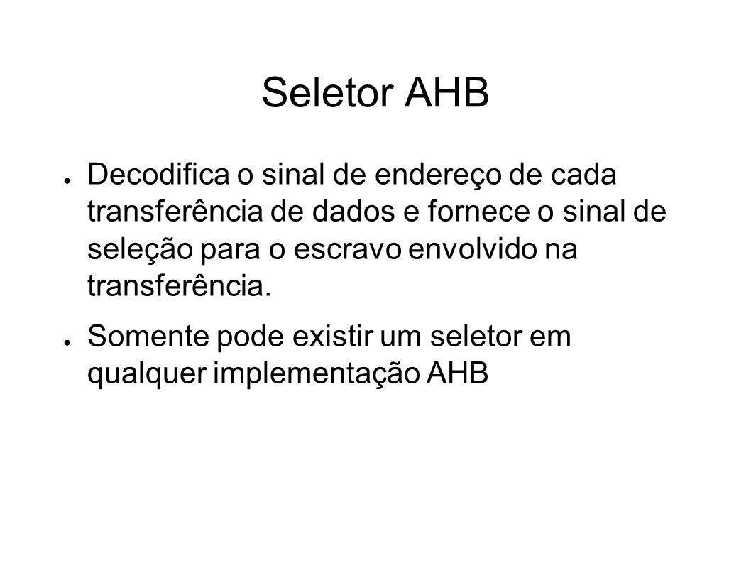 Seletor AHB Decodifica o sinal de endereço de cada transferência de dados e fornece o sinal de seleção para o escravo envolvido na transferência. Some