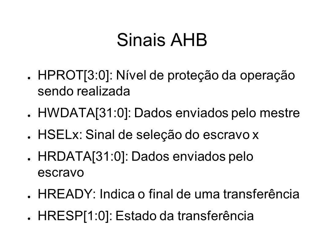 Sinais AHB HPROT[3:0]: Nível de proteção da operação sendo realizada HWDATA[31:0]: Dados enviados pelo mestre HSELx: Sinal de seleção do escravo x HRD