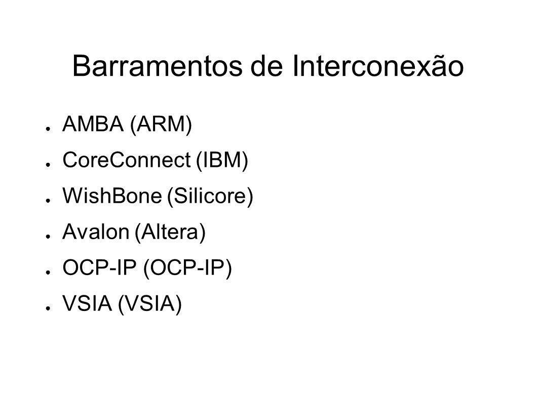 Barramentos de Interconexão AMBA (ARM) CoreConnect (IBM) WishBone (Silicore) Avalon (Altera) OCP-IP (OCP-IP) VSIA (VSIA)