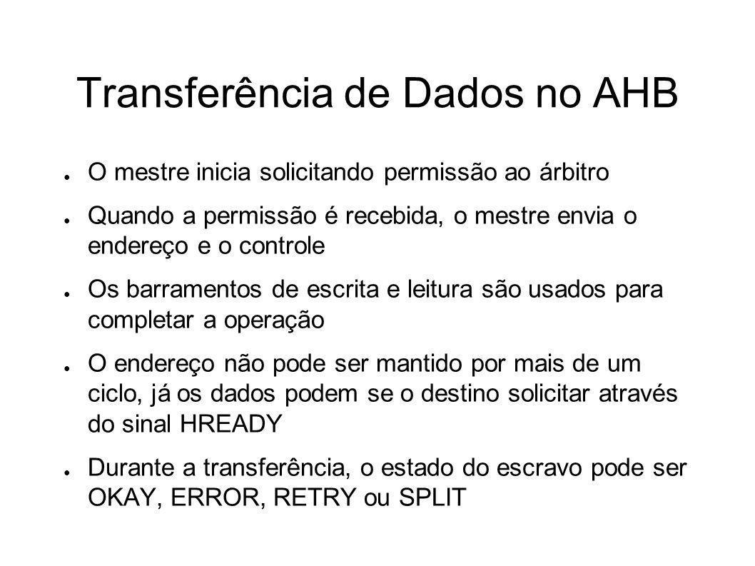 Transferência de Dados no AHB O mestre inicia solicitando permissão ao árbitro Quando a permissão é recebida, o mestre envia o endereço e o controle O