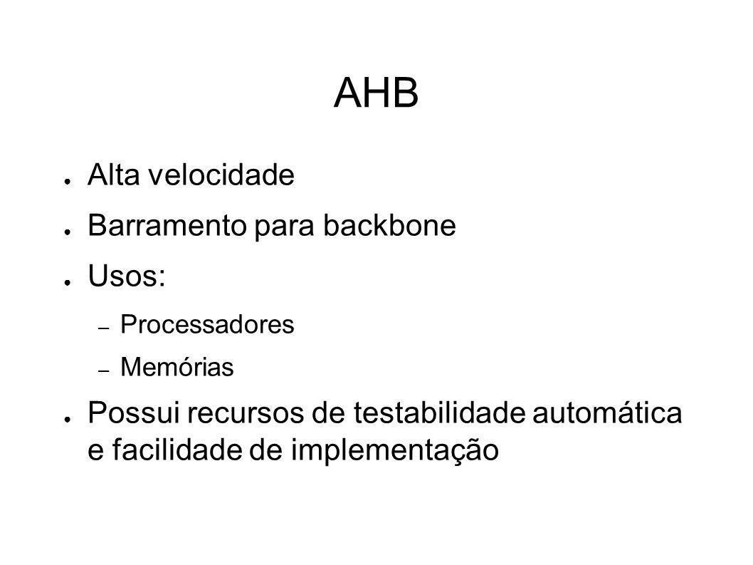 Características do APB É um barramento secundário que normalmente é encapsulado como um escravo num barramento AHB ou ASB Um barramento APB deve ser usado para interface com qualquer periférico que não necessite de alta taxa de transferência Normalmente contém uma ponte APB que interliga ao barramento AHB ou ASB e faz a conversão dos sinais necessários