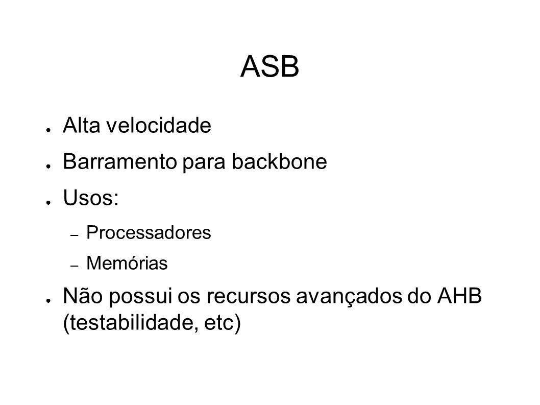 Nomes dos Sinais Sinais de teste começam sempre com a letra T Sinais ativos em nível baixo terminam com a letra n H indica um sinal AHB A indica um sinal unidirecional entre ASB master e o árbitro B indica um sinal ASB D é um sinal unidirecional do decoder do ASB P indica um sinal APB