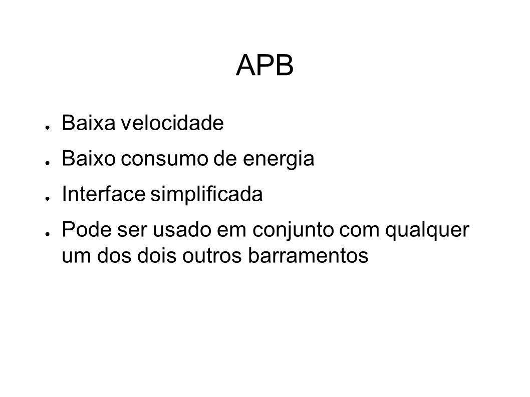 APB Baixa velocidade Baixo consumo de energia Interface simplificada Pode ser usado em conjunto com qualquer um dos dois outros barramentos