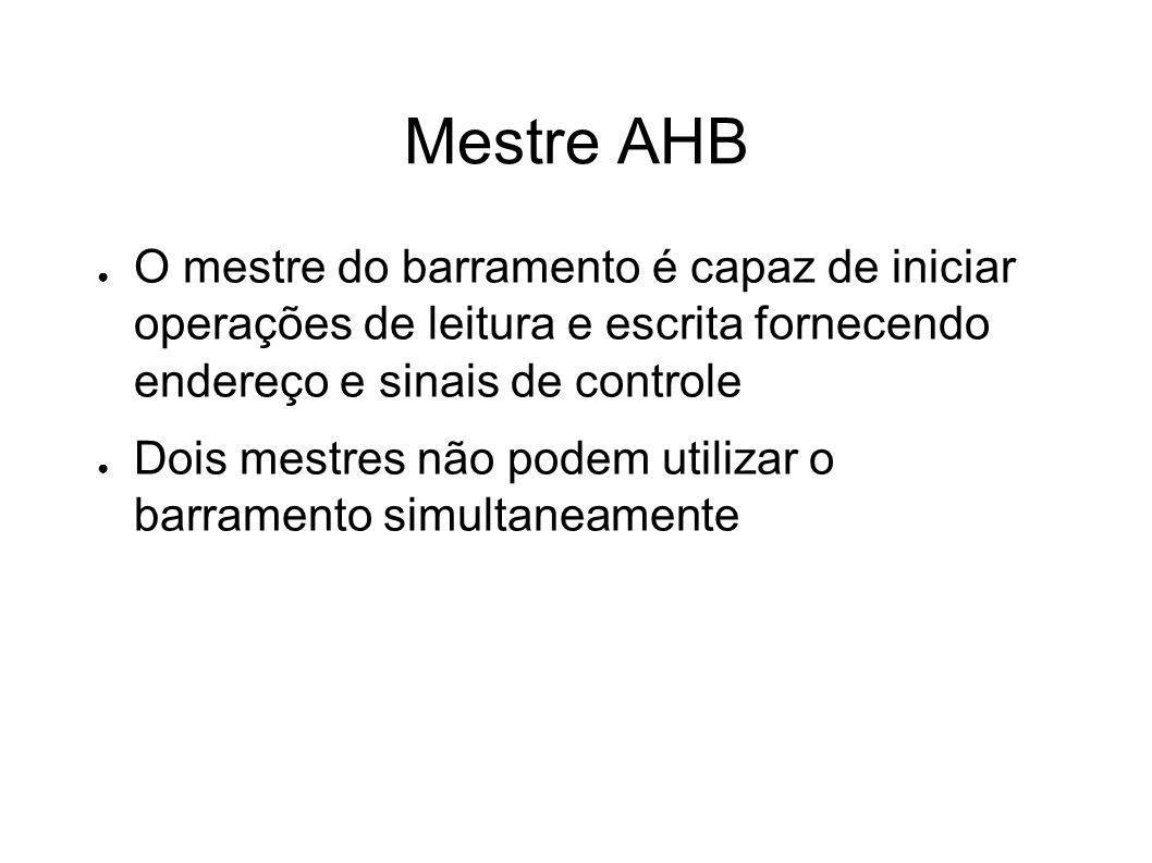 Mestre AHB O mestre do barramento é capaz de iniciar operações de leitura e escrita fornecendo endereço e sinais de controle Dois mestres não podem ut