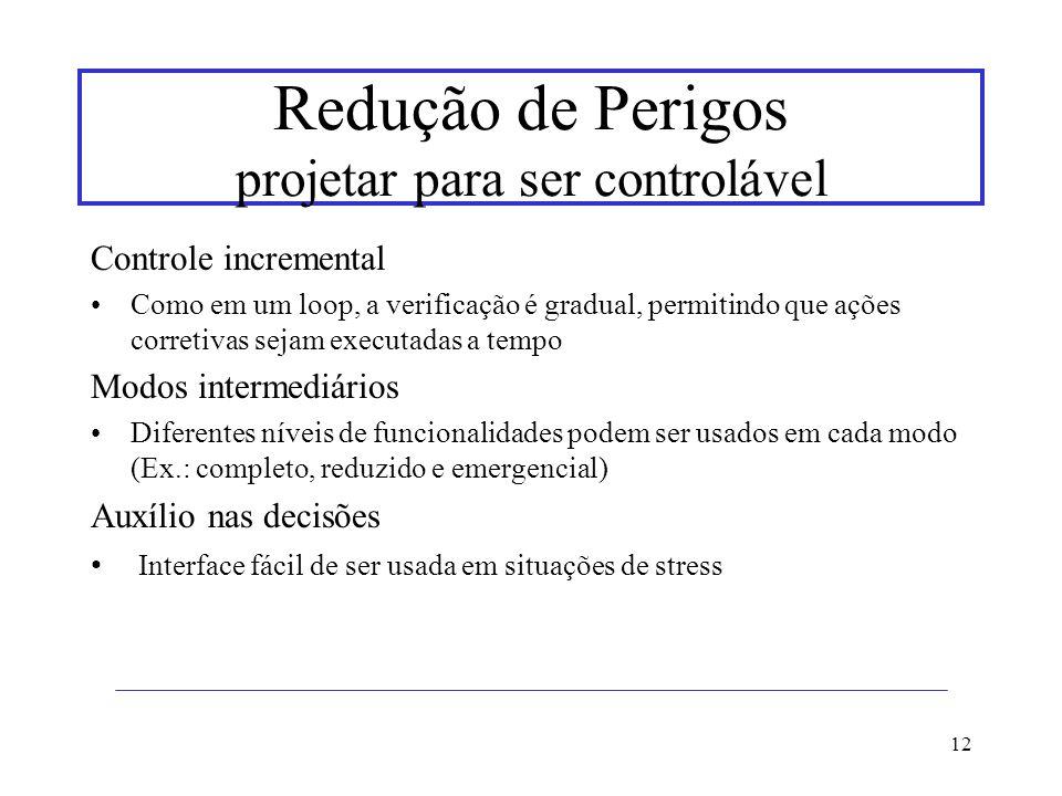 12 Redução de Perigos projetar para ser controlável Controle incremental Como em um loop, a verificação é gradual, permitindo que ações corretivas sej
