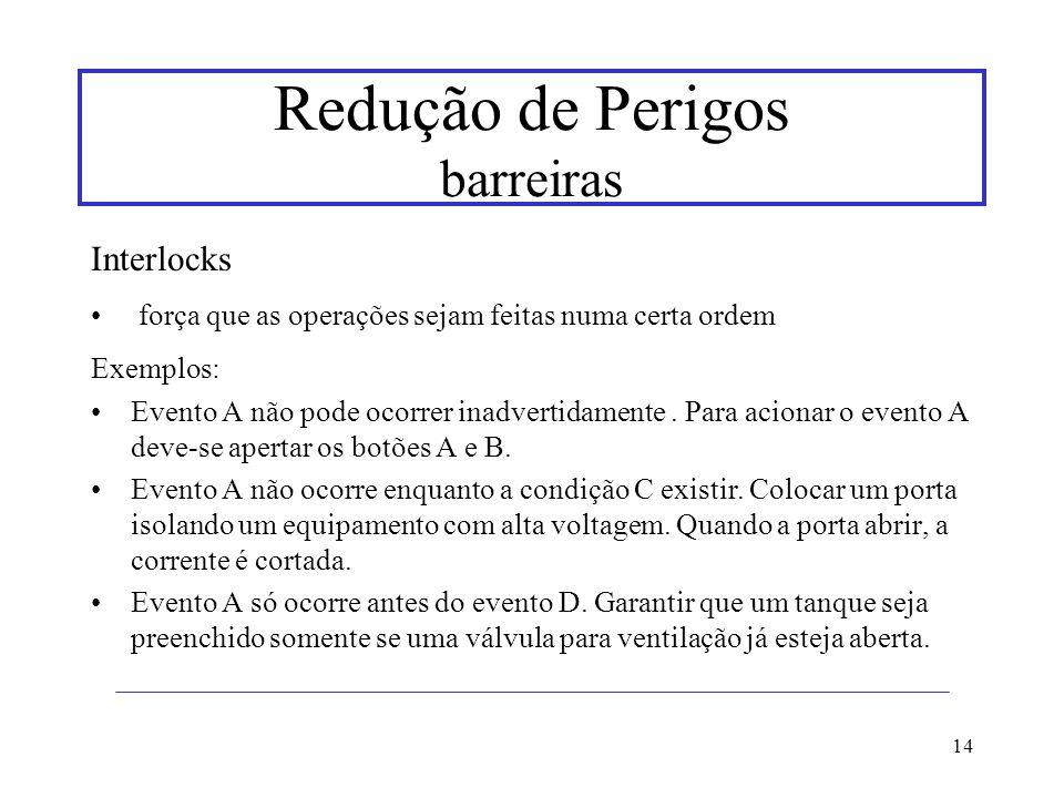 14 Redução de Perigos barreiras Interlocks força que as operações sejam feitas numa certa ordem Exemplos: Evento A não pode ocorrer inadvertidamente.