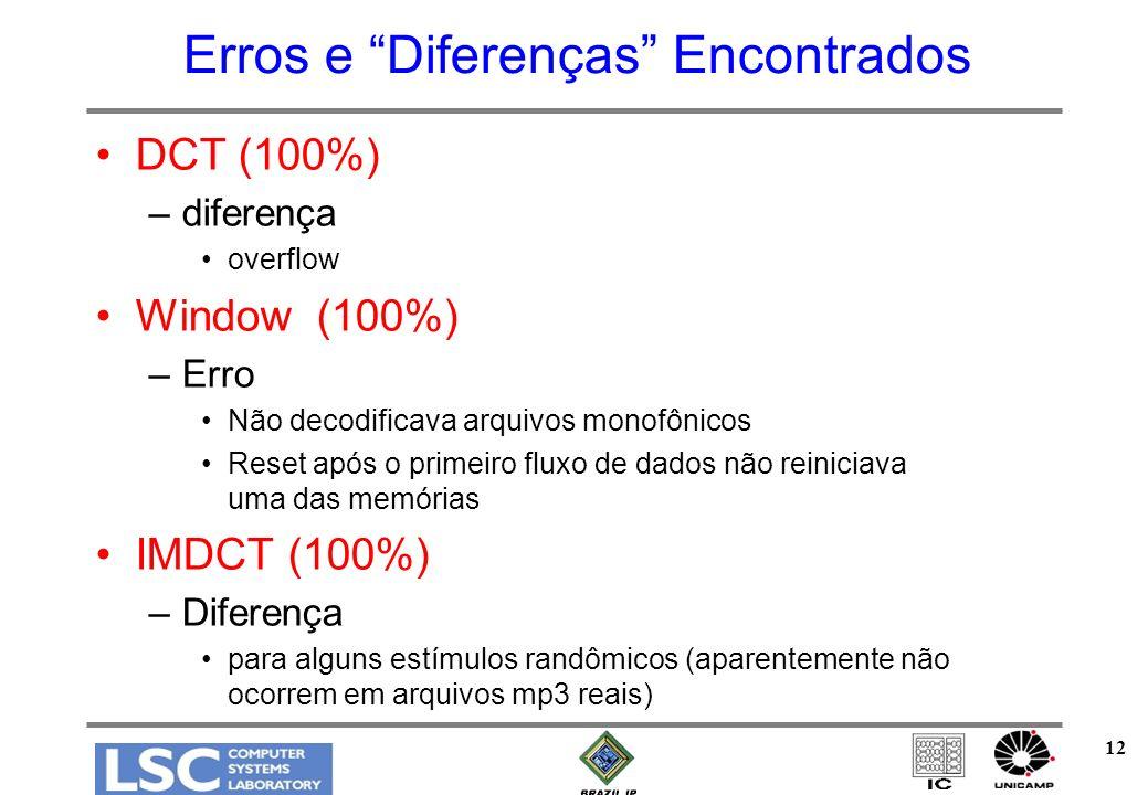 12 Erros e Diferenças Encontrados DCT (100%) –diferença overflow Window (100%) –Erro Não decodificava arquivos monofônicos Reset após o primeiro fluxo de dados não reiniciava uma das memórias IMDCT (100%) –Diferença para alguns estímulos randômicos (aparentemente não ocorrem em arquivos mp3 reais)