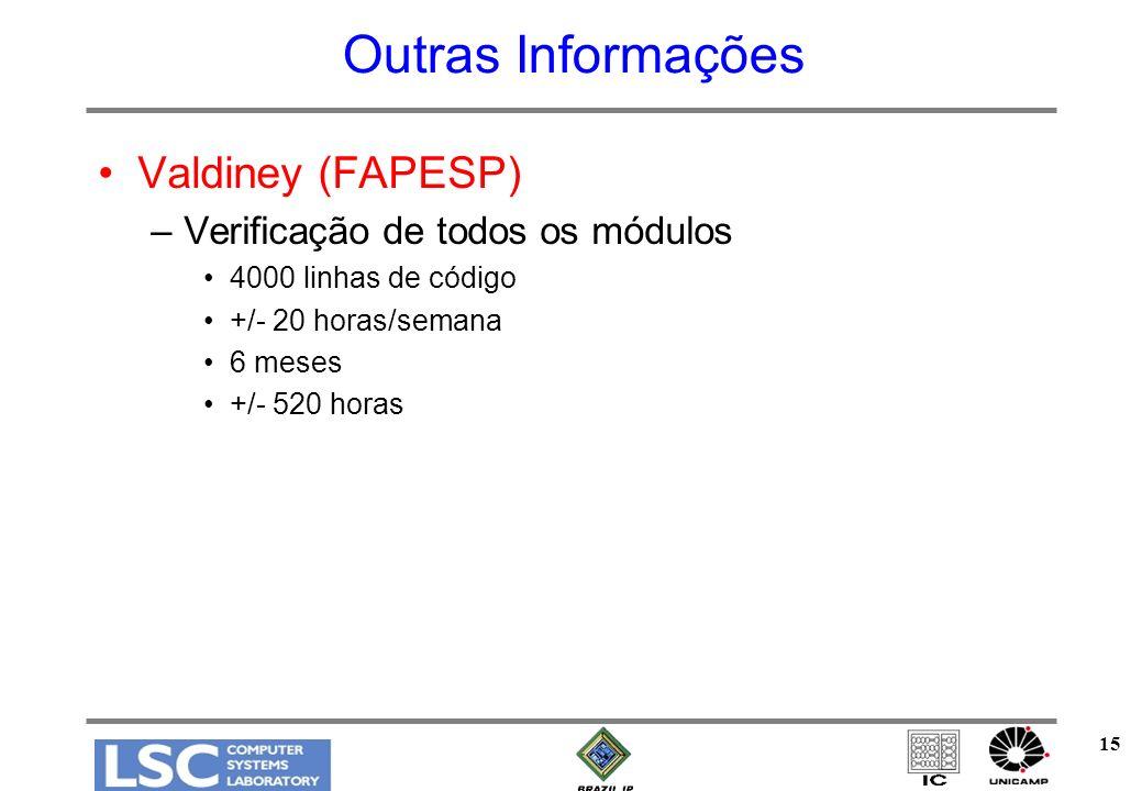 15 Outras Informações Valdiney (FAPESP) –Verificação de todos os módulos 4000 linhas de código +/- 20 horas/semana 6 meses +/- 520 horas