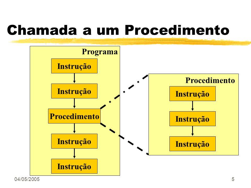 04/05/20055 Chamada a um Procedimento Instrução Procedimento Instrução Programa Procedimento