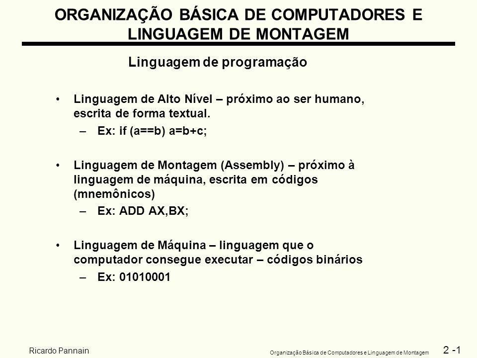 2 -1 Organização Básica de Computadores e Linguagem de Montagem Ricardo Pannain ORGANIZAÇÃO BÁSICA DE COMPUTADORES E LINGUAGEM DE MONTAGEM Linguagem d